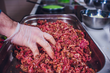 beef raw cheese sliced hand cooks