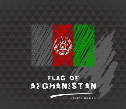 Flag of Afghanistan, vector pen illustration on black background