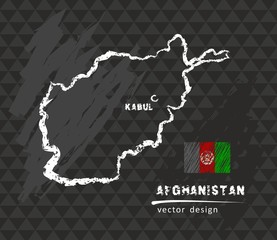 Map of Afghanistan, Chalk sketch vector illustration