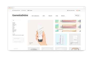 Cosmetics webstore site template mock up isolated, 3d illustration. Makeup web page interface mockup. Cosmetology internet website template. Web store screen layout for computer display.