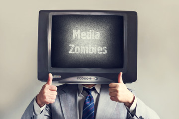 Man with a TV instead of a head. Media Zombie inscription. Social networks.