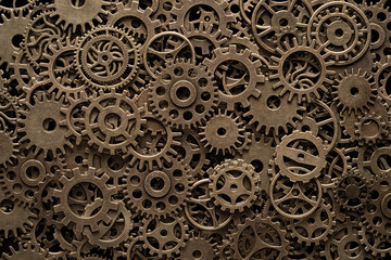 Brass cog wheels, steampunk background, texture with copy space