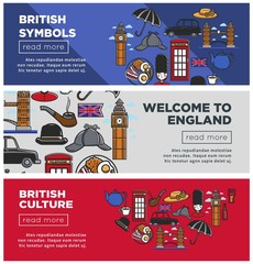 British culture and symbols Internet pages templates set