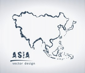 Asia vector chalk drawing map isolated on a white background