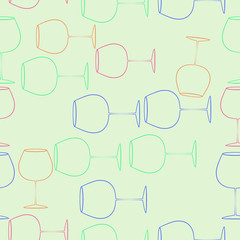 Wineglass  seamless  pattern . Hand drawn.
