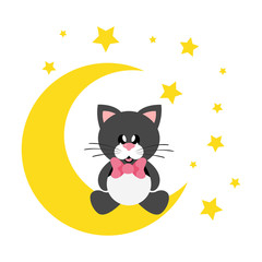 cartoon cute cat black with tie sitting on the moon