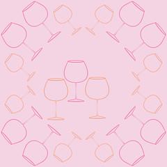 Wineglass  pattern . Hand drawn.