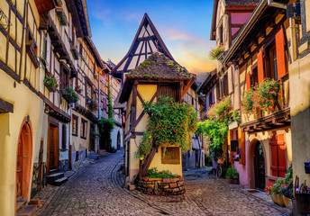 Colorful half-timbered houses in Eguisheim, Alsace, France Wall mural