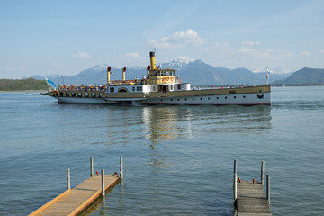 Boat on Chiemsee in Bavaria, Germany in spring