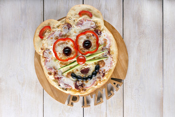 Smiley Faced Pizza.Baby menu.Top view.