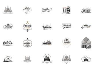 Ramadan Kareem mubarak banner set for postcards and other uses.