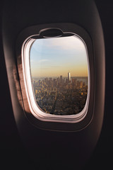 Airplane window New York City
