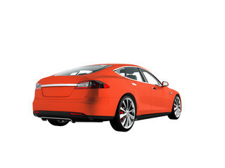 Electric car for travel to travel and city orange behind 3d render on white background no shadow