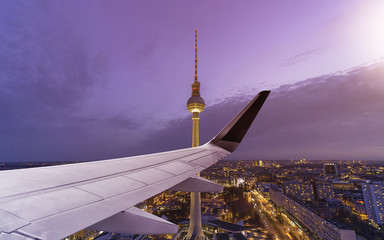 Airplane Wing Berlin Skyline