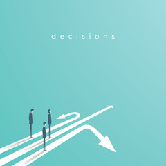Business concept of decision and competition. Businessman standing on different arrows - symbol of decision, choice, career opportunities.