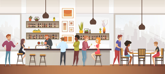 People Drink Coffe into Interior Vector Cafe Bar