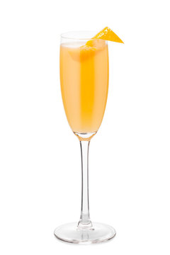 Cocktail Mimosa decorated with orange peel
