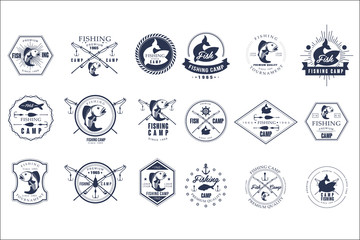 Vector set of vintage fishing camp logo or tournament emblem templates. Original monochrome labels with fishes and fish-rods. Active recreation