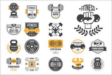 Vector set of retro fitness logo templates. Emblems with dumbbells, barbells and silhouettes of muscular men. Design for gym or sport club