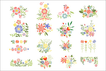 Flat vector set of colorful floral compositions. Blooming spring flowers. Colorful plants. Botanical theme
