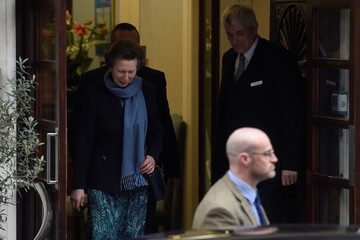 Britain's Princess Anne leaves the King Edward VII's Hospital after visiting her father Prince Philip in London