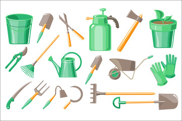 Flat vector set of garden accessories. Pot with plant, protective gloves, digging and pruning tools, equipment for watering