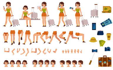 Tourist woman creation kit - set of different body parts, poses, face emotions, gestures and travel accessories. Cartoon character of young travelling girl. Flat vector illustration.
