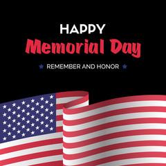 Happy memorial day. Vector dark greeting card