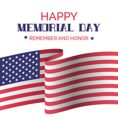 Memorial day. Vector greeting card with USA flag