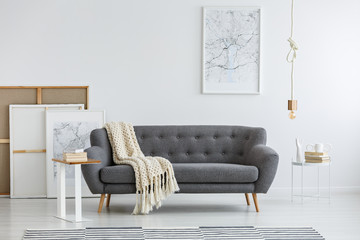 Gray couch in modern room