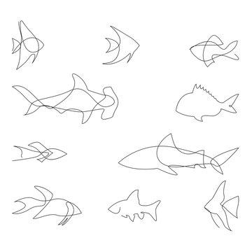 One line fish design silhouette. Logo design. Hand drawn minimalism style vector illustration.