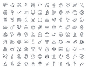 Holidays line icon vector pack