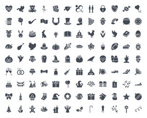 Holidays silhouette icon vector pack