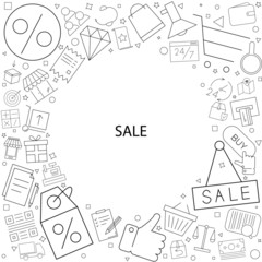Sale background from line icon. Linear vector pattern.