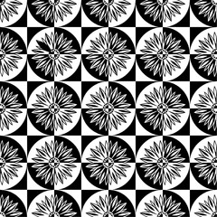 Seamless decorative pattern with a flowers in a circles and contrst black - white colors