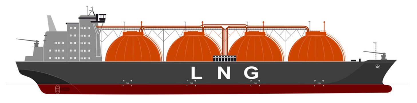 Silhouette of a huge ocean tanker for liquefied gas. Traced details.