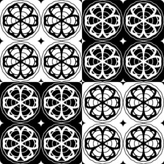 Decorative pattern with a flowers in a black  - white colors