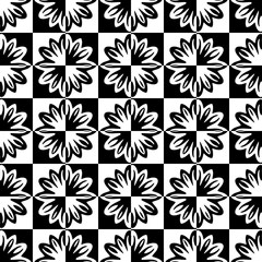 Seamless pattern with a abstract flowers in chess cell