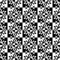 Seamless pattern with a abstract flowers in a chess cell