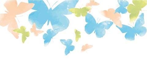 Background with watercolor butterflies pastel shades