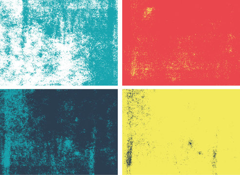 Rolled ink grunge texture. Set of 4 high quality vectors