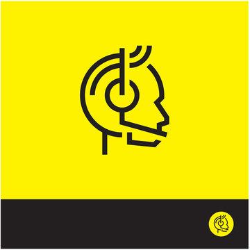 Customer support icon, call center logo, administrator man line vector sign, service icon
