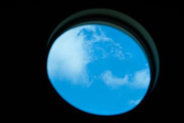 image of a sky through window