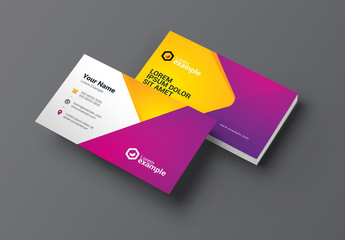 Purple and Yellow Business Card Layout