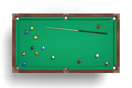 3d rendering of an isolated billiard table in a top view with one cue stick and many colorful balls lying around.