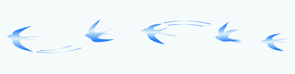 Set of flying blue birds vector illustrations