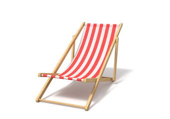 3d rendering of a white red deckchair isolated on a white background.