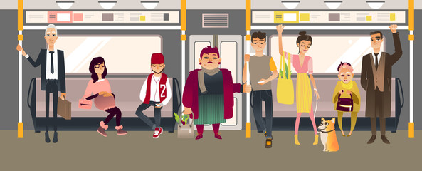 People in subway inside train sitting, standing and holding on to handrails while riding in underground rail car. Cartoon vector illustration of men and women in public transport.