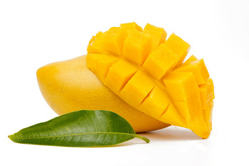 Mango fruit slice with green leaf isolated white background