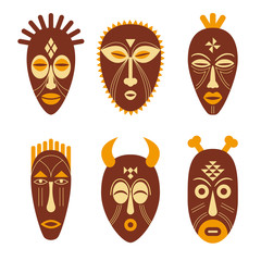 Set of ethnic tribal masks.